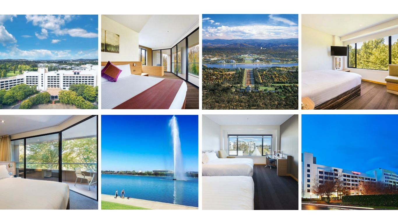 Collage of images from Canberra and the hotel Crowne Plaza Canberra - Follow us on Instagram
