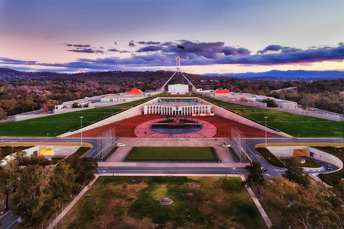Birds eye view of parliament house - Hotels in Canberra City