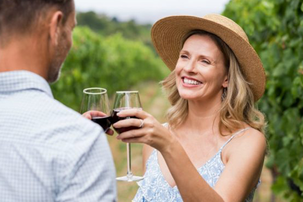 Couple visiting local winery during Canberra Wine Week